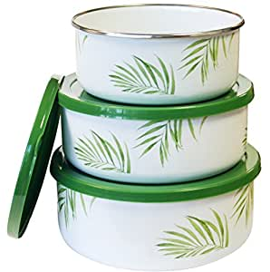 Corelle Coordinates by Reston Lloyd 6-Piece Enamel on Steel Bowl/Storage Set, Bamboo Leaf