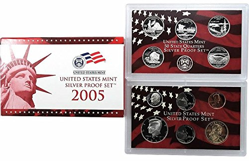 2005 S US Proof Set 11-Coin Silver Proof Set Mint State State Quarters Proof Set Proof US Mint