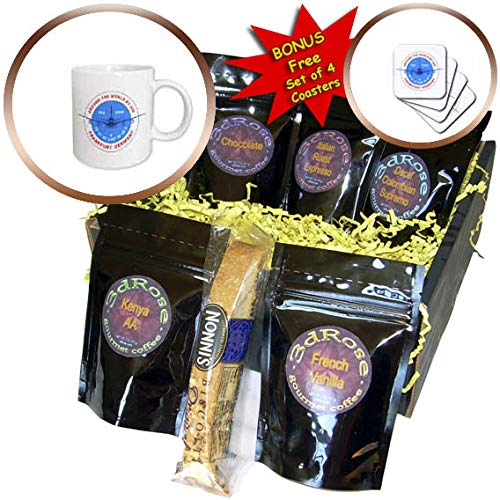 3dRose Alexis Design - Around The World By Air - Round badge, a blue airliner. Red text Frankfurt Germany, coordinates - Coffee Gift Baskets - Coffee Gift Basket ()