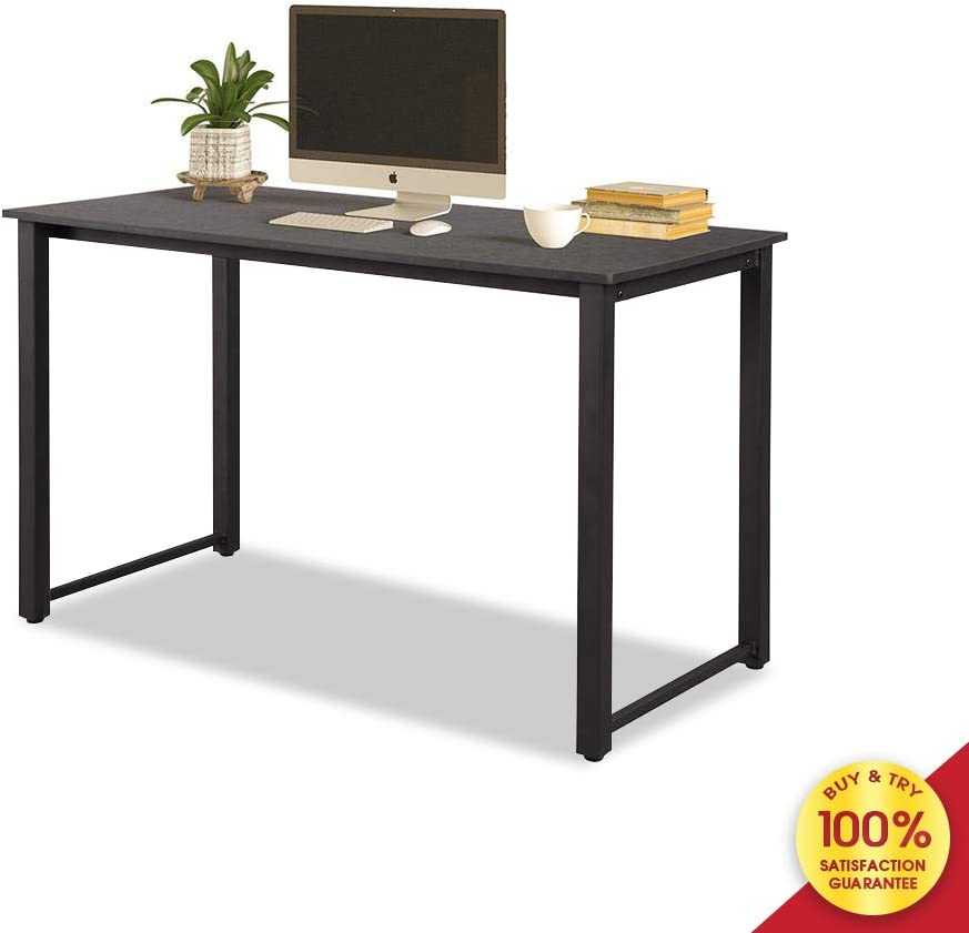 Computer 47 Modern Simple Study Desk, Sturdy Laptop Writing Table with Spacious Wood Top Metal Legs, Studio Workstation for Home Office, Black