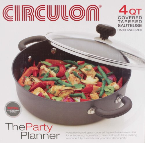 Circulon Hard-Anodized Nonstick 4-Quart Covered Casserole, Black ()