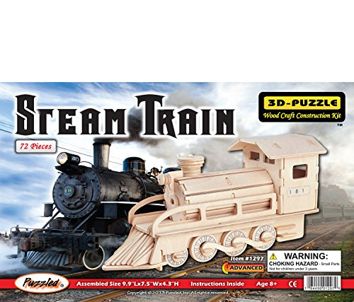 Puzzled 1297 Steam Train 3D Jigsaw Woodcraft Kit Wooden Puzzle, One Size, Tan (Pack of 72)