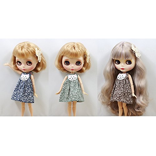 DYNWAVE 3 Sets Doll Clothes for 12inch Dolls, Floral Cat Face Sleeveless Dress Outfit with Hairpin for 1/6 Blyth Azone Ball Jointed Doll Clothing Accessories