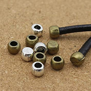 Antique Bronze Metal End Caps 100pcs 3mm Beads Fits Round Leather Cord DIY Jewelry Making Materials