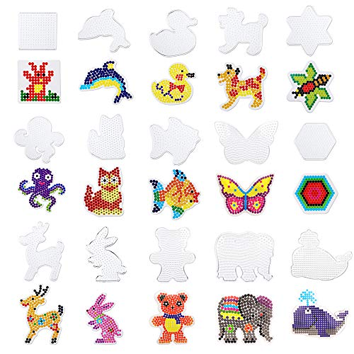 - SKYCOOOOL 15 Pieces Fuse Beads Boards, Plastic Clear Animal Shape Template Bead Board for Kids Craft Beads