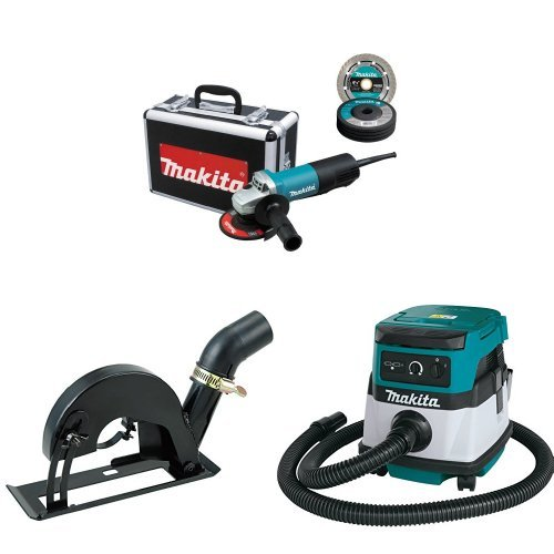 Makita 9557PBX1 4-1/2-Inch Angle Grinder w/Case, Diamond Blade, 5 Grinding Wheels, Wheel Guards, 193794-5 Cutting Guard, XCV04Z 18V X2 LXT (36V) 2.1 Gallon HEPA Filter Dry Dust Extractor/Vacuum