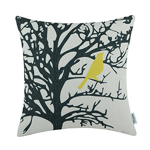 CaliTime Cushion Cover Throw Pillow Case Shell Vintage Birds Branches, 18 X 18 Inches, Yellow Black (Yellow And Black Pillows)