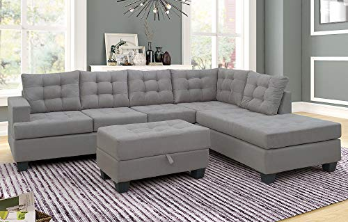 (Merax. Sofa 3-Piece Sectional Sofa with Chaise Lounge and Storage Ottoman L Shape Couch Living Room Furniture(Gray) (Gray))