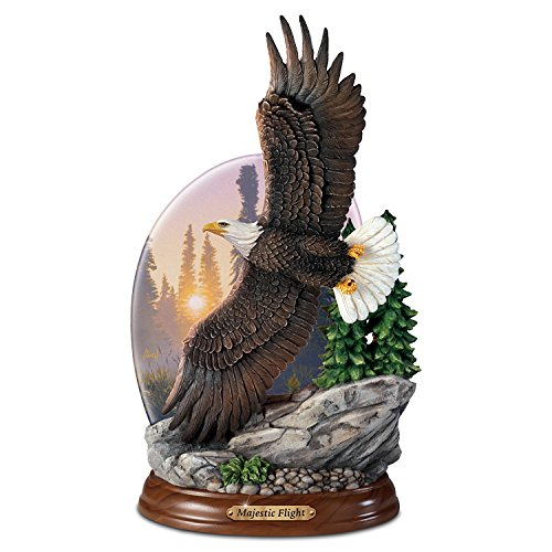 Realistic Al Agnew Limited-edition Majestic Flight Eagle Sculpture Lights Up by The Bradford Exchange