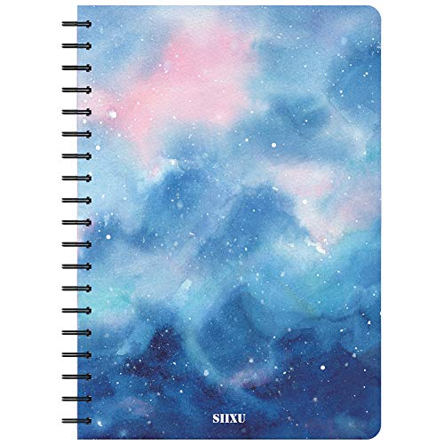 Cute Halloween Ideas For Teens (Siixu Star Rover Hardcover Journal, Spiral Color Notebook for Record/Idea/Meeting, Lined Paper, Cute Beautiful Design, 136 Pages, Large, Light Blue, Lay)
