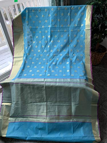 Elegant Attire Sky Blue Banaras Cotton Silk Saree