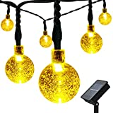 easyDecor Solar Globe String Lights 21 ft 8 Modes 30 LED Bubble Crystal Ball Christmas Lights for Outdoor Indoor Garden Patio Home Holiday Path Lawn Party Decoration (Warm White) (1) ()
