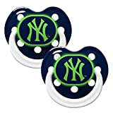 New York Yankees Glow in Dark 2-Pack Baby Pacifier Set - MLB Infant Pacifiers by Baby Fanatic