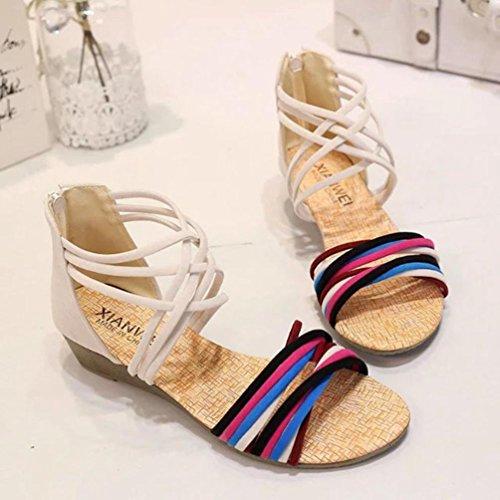 Transer® Casual Sandalias para verano Beige de Bohemia Sandalias Zapatos cómodos mujer planos planas rSHqrwA