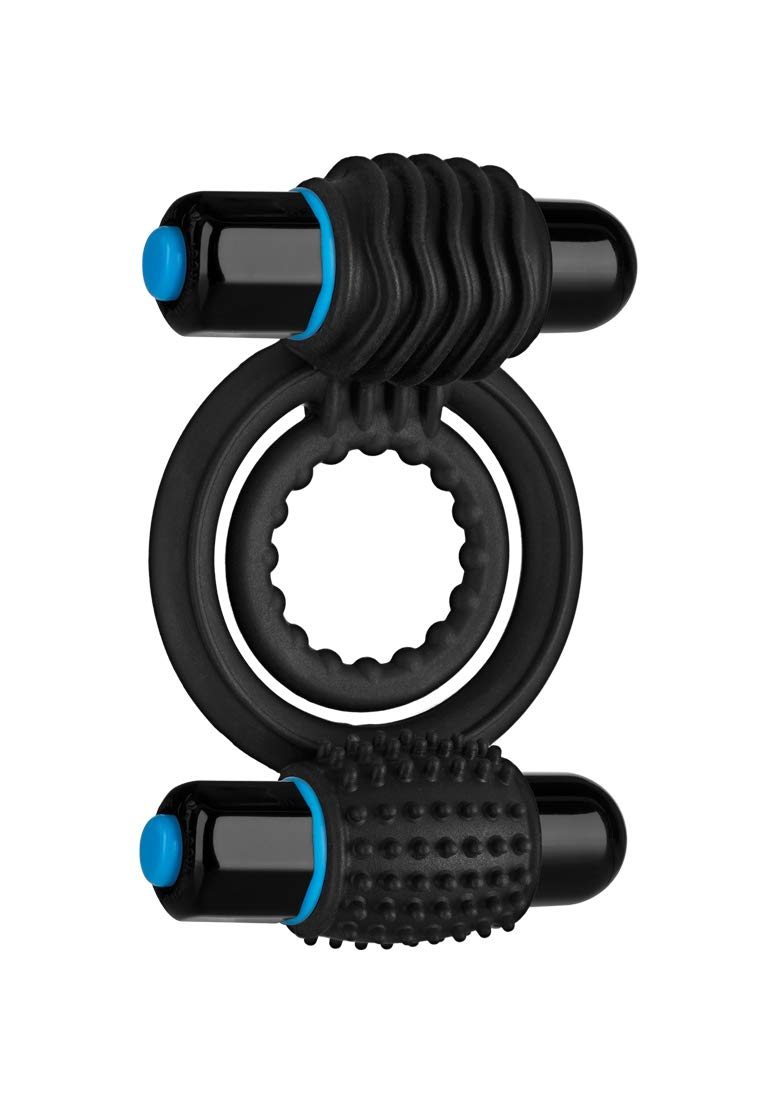 Doc Johnson OptiMALE - Vibrating Double C-Ring - Two Rings, one for shaft, one for testicles - Stretchable Silicone - 2 Powerful and Removable 10 Function Bullets - Black