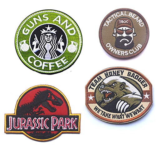 SOUTHYU 4 Pack Funny Tactical Morale Military Patches Emblem, Guns and Coffee/Jurassic Park Dinosaur/Beard Man/Team Honey Badger Embroidered Badge, Hook and Loop Patch