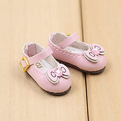 Fortune days toys for 1/6 doll shoes, Kitty cat and butterfly style handmade shoes four different color, suitable blythe icy licca Azone body and more! (pink Bowknot): Toys & Games