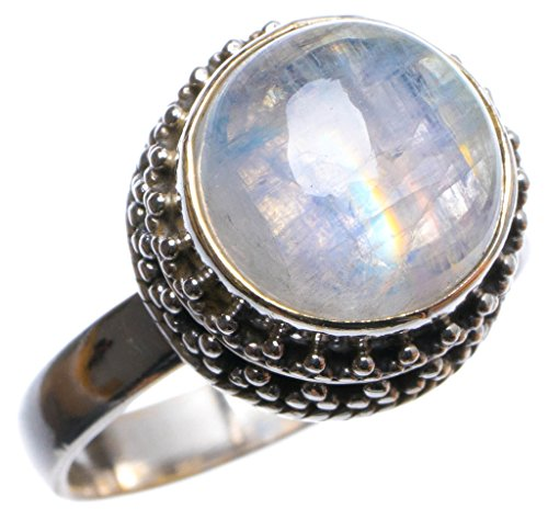 (Natural Rainbow Moonstone Handmade Unique 925 Sterling Silver Ring, US Size 7.5 X2830)