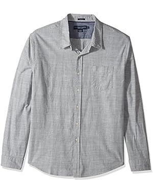 Men's Slim Fit Stripe, Plaid Print Long Sleeve Sport Shirt