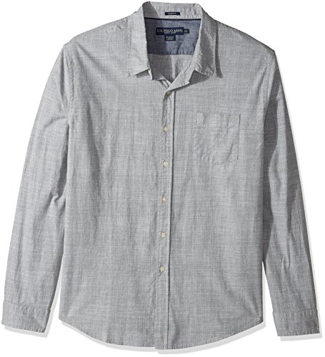 U.S. Polo Assn. Mens Slim Fit Stripe, Plaid Print Long Sleeve Sport Shirt