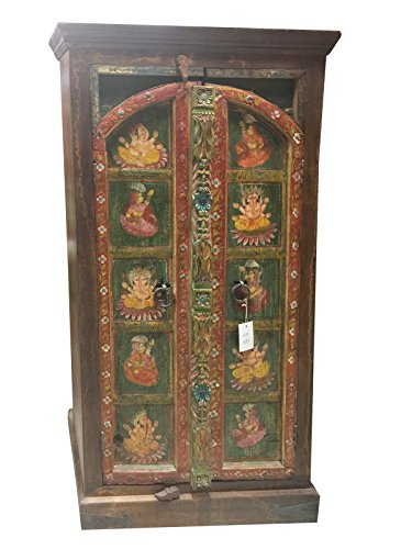 Antique Armoire Ganesha Hand Painted Bohemian Cabinet Hand carved Indian Decor by Mogul Interior
