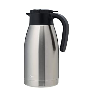 GiNT Stainless Steel Thermal Coffee Carafe with Lid/Double Walled Vacuum Thermos / 12 Hour Heat Retention,1.9L, Silver
