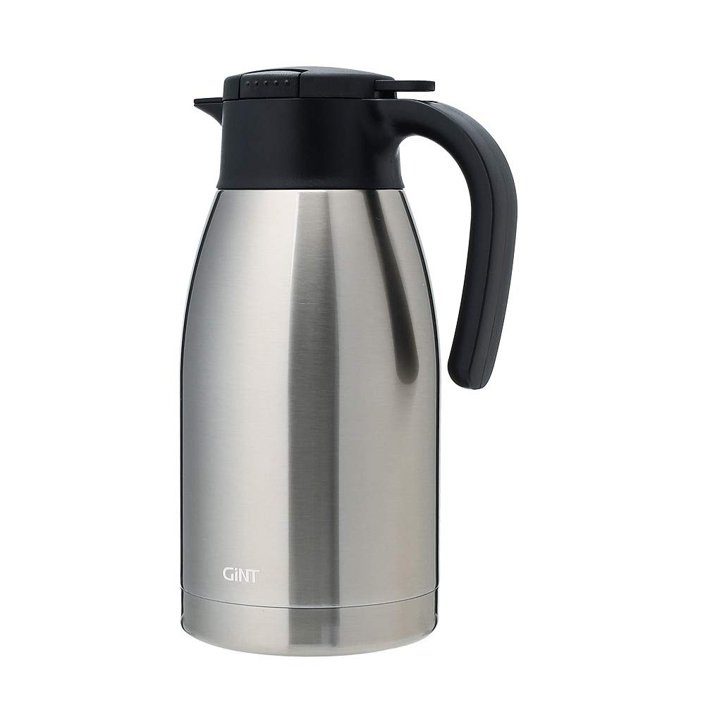 GiNT Stainless Steel Thermal Coffee Carafe with Lid/Double Walled Vacuum Thermos / 12 Hour Heat Retention,1.9L, Silver by GiNT (Image #1)
