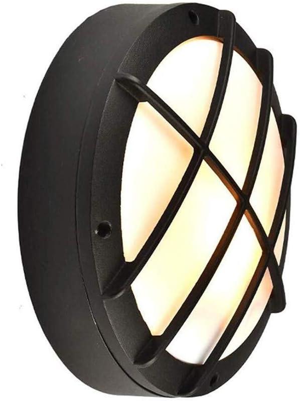 壁ランプラウンドLED屋外防水壁ランプコートヤードパティオ装飾照明回廊バルコニーブラケットランプ (Color : Black, Size : 22*7.5cm)