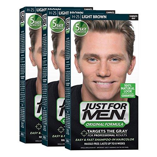 Price comparison product image Just For Men Original Formula Men's Hair Color,  Light Brown (Pack of 3)