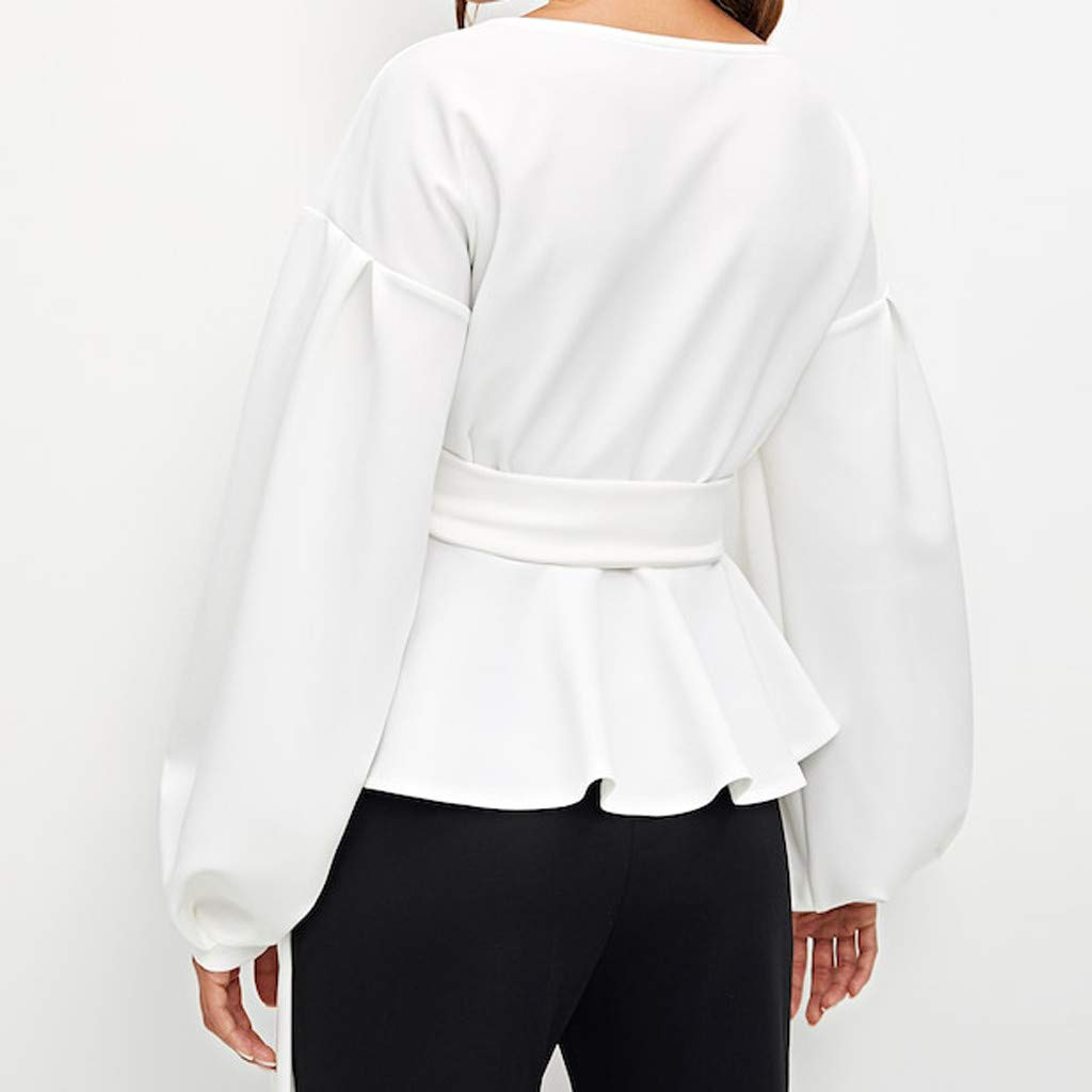 ZIYOU Damen Taillenband Bluse Elegante Slim fit Mode Tr/ägerlos V-Ausschnitt Oberteile mit G/ürtel Verband//Laterne H/ülse Tops
