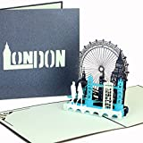 3D pop up card with'London Calling.' travel and gift voucher folding card, London, streetlife & skyline, cities trip, London.