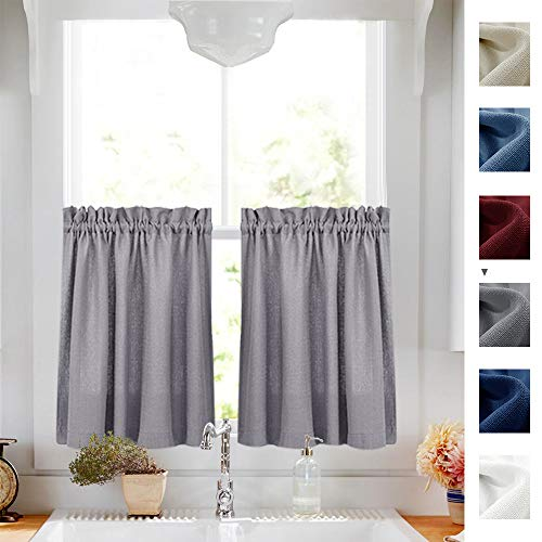 Tier Curtains Semi Sheer Short Curtains Kitchen Casual Weave Cafe Curtains Half Window Treatments 2 Panels 24