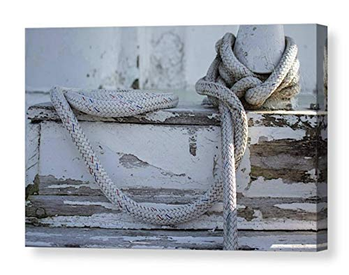 rope tied dock rustic canvas