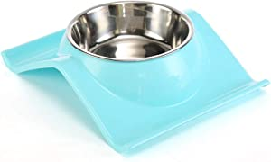 Dressyougo Tilted Slanted Feeder Single Dog Cat Bowl, Raised Lips No Spill Food and Water Feeder, Reduce Neck Stress, Dishwasher Safe