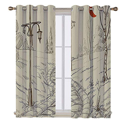 SATVSHOP Room Darkening Wide Curtains - 84W x 108L Inch- Customized Curtains.Lantern Park Alley with Stone OAD and Lanterns Night Lights in Illuminated Areas Artsy Sketch Beige.]()