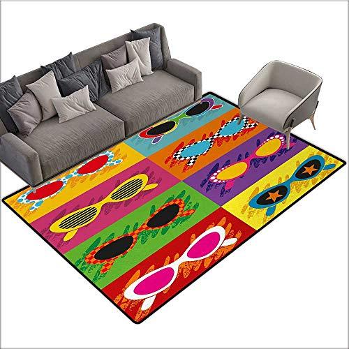 70s Party Decorative Floor mat Pop Art Style Sunglasses Vibrant Colorful Combination Summer Season Fun Artwork 78