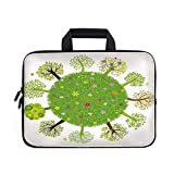 Earth Laptop Carrying Bag Sleeve,Neoprene Sleeve Case/Various Green Trees Around The World in