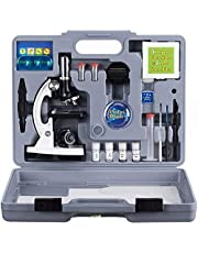 AmScope M30-ABS-KT2-W Beginner Microscope Kit, LED and Mirror Illumination, 300X, 600x, and 1200x Magnification, Includes 52-Piece Accessory Set and Case, White by AmScope