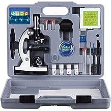 AmScope 120X-1200X 52-pcs Kids Beginner Microscope SETM Kit with Metal Body Microscope, Plastic Slides, LED Light and Carrying Box