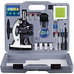 AmScope 120X-1200X 52-pcs Kids Beginner Microscope STEM Kit with Metal Body Microscope, Plastic Slides, LED Light and…