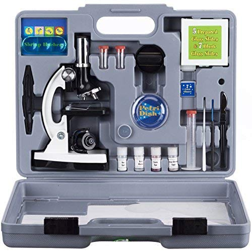 (AmScope 120X-1200X 52-pcs Kids Beginner Microscope STEM Kit with Metal Body Microscope, Plastic Slides, LED Light and Carrying Box)