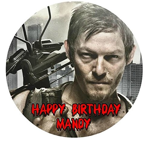 The Walking Dead Daryl TWD Edible Image Photo Cake Topper Sheet Personalized Custom Customized Birthday Party - 8 Inches Round - 77915 -