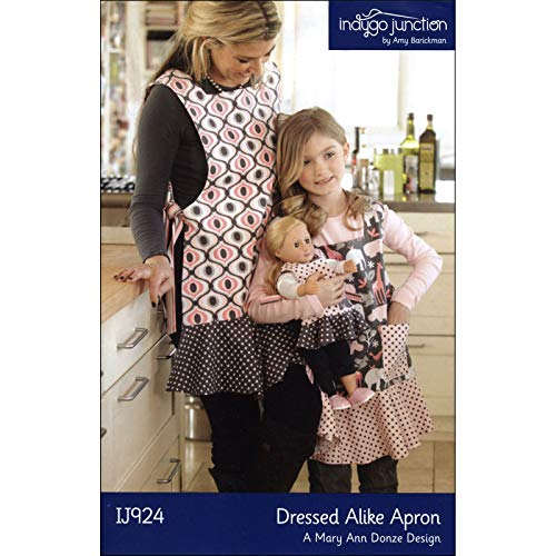 """Indygo Junction Dressed Alike Apron Sewing Pattern for Mother, Daugher & 18"""" Doll"""