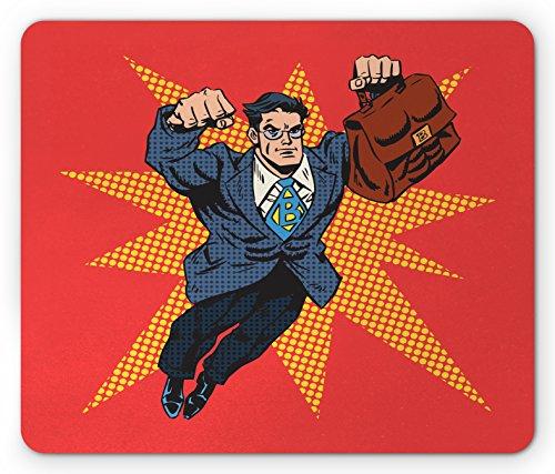 Lunarable Retro Mouse Pad, Businessman Superhero with Muscular Briefcase Comic Book Style Pop Art Illustration, Standard Size Rectangle Non-Slip Rubber Mousepad, Multicolor