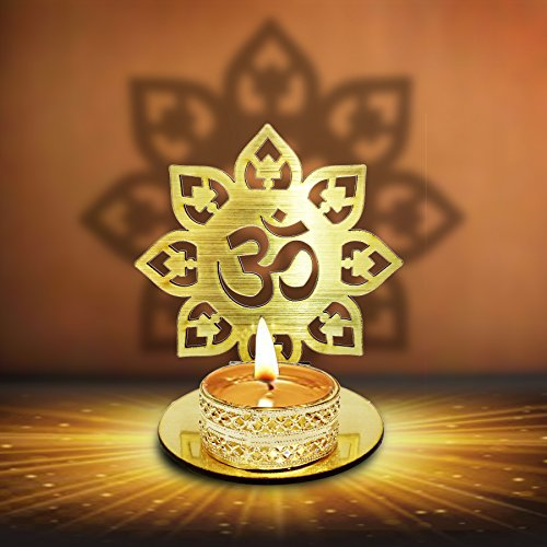 (Om Shape Diwali Shadow Diya. Deepawali Traditional Decorative Diya in Om Shape for Home/Office.Religious Tea Light Candle Holder Stand. Diwali Decoration Diwali Gift)