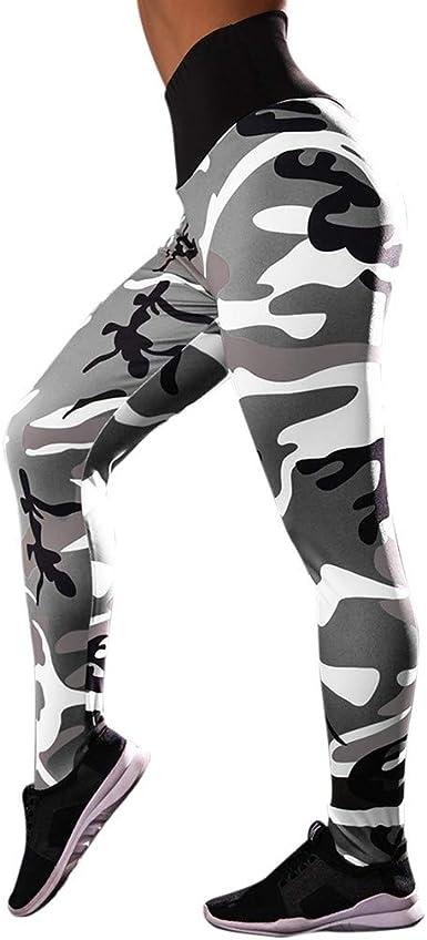 MEIbax Leggings Deportes Pantalones Mujeres de Camuflaje Estampado ...