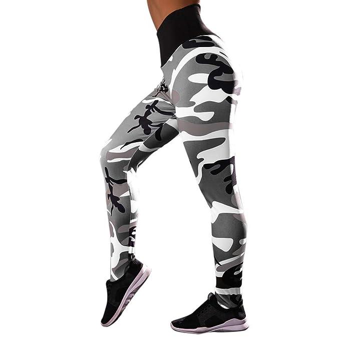 MEIbax Leggings Deportes Pantalones Mujeres de Camuflaje Estampado de Cintura Alta Gimnasio Athletic Entrenamiento Gym Skinny Mallas de elásticas ...