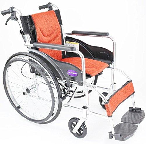 自走用車いす 車イス 車椅子 「ZEN-禅-ライト」(オレンジ) 軽量 コンパクト 背折れ 折りたたみ ノーパンクタイヤ メーカー保証1年付き カドクラ G201-OR B06Y63SJVP オレンジ オレンジ