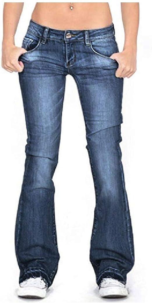 Tootess ポケットスリムフィットウォッシュジーンズパンツと女性グラデーションワイドレッグヒップアップ