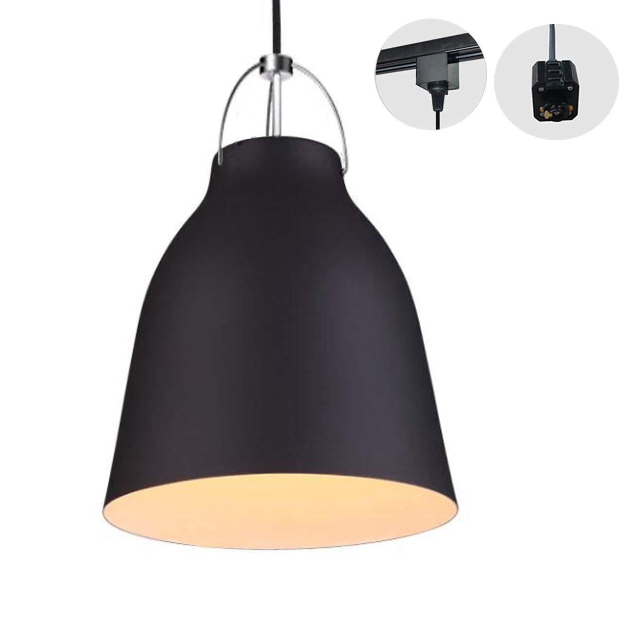 H-Type 3 Wire Metal Pail Track Light Pendants Length 1.5m Restaurant Chandelier Deco Chandelier Instant Pendant Fixture,Bulb Not Include,Retro Industrial Pendant Lamp (TB0263-B)
